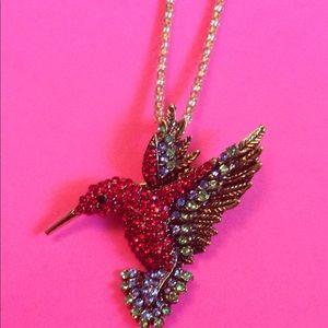 Betsey Johnson hummingbird necklace/pin